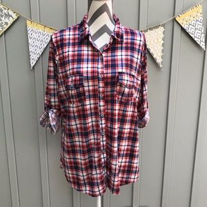 French Laundry Plus Size Plaid Button Down Shirt